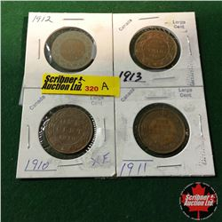 Canada Large Cent - Group of 4: 1910; 1911; 1912; 1913