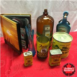 Box Lot: Painted Large Glass Bottle, Confectioner Tins, Sticker Collection Binder, Decanter, etc