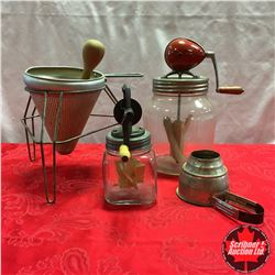"""Small """"Dazey"""" Churn, """"Blow"""" Butter Churn, Hand Sifter, Vintage Food Press w/Wooden Pestle"""
