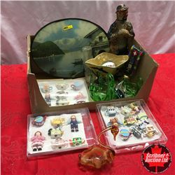 Box Lot: Red Rose Tea Orn. Collection, Decanter, Oval Convex Picture, Swan Ornaments, etc
