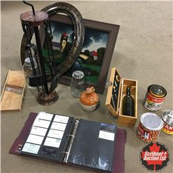 Box Lot : Framed Print, Cabbage Cutter, Conf. Tins, Fireplace Toolset, etc !  MUST LOOK!