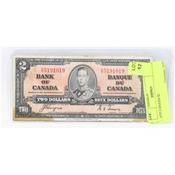 1937 CANADA $2 BANK NOTE