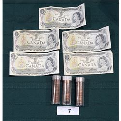 FIVE 1973 $1 BILLS & 3 TUBES OF CANADIAN PENNIES