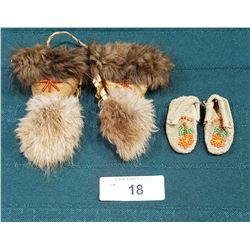 VINTAGE NATIVE BEADED DOLL SLIPPERS & MITTS