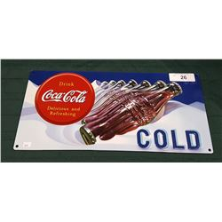 COCA-COLA EMBOSSED TIN SIGN BY ANDE ROONEY, USA