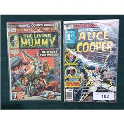 40CENT ALICE COOPER COMIC & 25CENT THE LIVING MUMMY COMIC