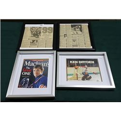 FOUR FRAMED HOCKEY MAGAZINES & STATISTICS