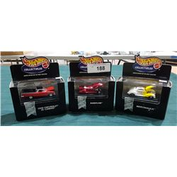 THREE HOTWHEELS COLLECTIBLE DIE CAST CARS