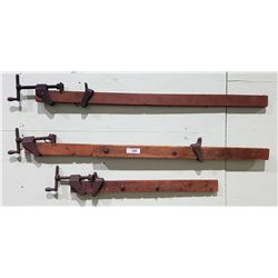 THREE ANTIQUE WOOD CLAMPS