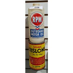 TWO VINTAGE RPM OUTBOARD MOTOR OIL & RISLONE OIL QUARTS