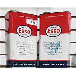 TWO VINTAGE IMPERIAL ESSO 1 GALLON SQUARE CANS