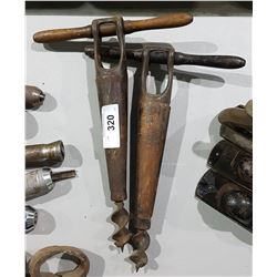TWO ANTIQUE CARPENTRY HOLE AUGERS