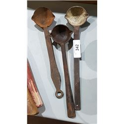 THREE ANTIQUE FORGING LADLES