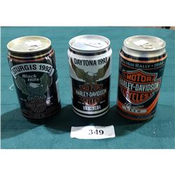 THREE COLLECTIBLE HARLEY DAVIDSON BEER CANS