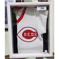 CINCINATTI REDS BASEBALL JERSEY IN SHADOW BOX