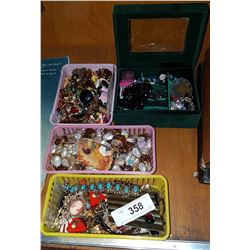 FOUR TRAYS COLLECTIBLE JEWELRY