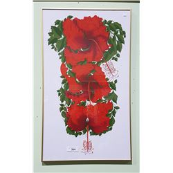 FRAMED SILK SCREEN PRINT OF HIBISCUS