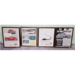 FOUR FRAMED ORIGINAL 1940'S ADVERTISEMENTS