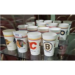 16 VINTAGE COLLECTIBLE HOCKEY EMBLEM PLASTIC CUPS FROM MAC'S CONVENIENCE STORE