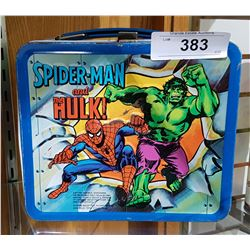 VINTAGE ORIGINAL CAPTAIN AMERICA/SPIDERMAN/HULK EMBOSSED METAL LUNCH BOX
