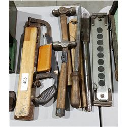 NINE ANTIQUE MISC HAND TOOLS