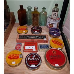 APPROX 17 PIECES VINTAGE TIN CANS, BOTTLES ETC