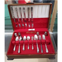 26 PCS OF ROGERS BROTHER SILVER PLATE FLATWARE & TWO SETS OF STERLING SILVER SALT AND PEPPER SHAKERS