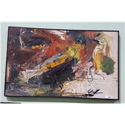"FRAMED ABSTRACT OIL ON CANVAS BY LES GRAFF TITLED ""NO EXIT"""