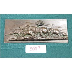 VINTAGE BRONZE FIGURAL WALL PLAQUE OF ELEPHANTS
