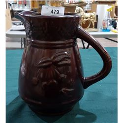 VINTAGE POTTERY PITCHER W/EMBOSSED CHERRY DESIGN