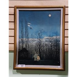 "VINTAGE H. ROUSSEAU PRINT ON BOARD TITLED ""NIGHT OF CARNAVAL"""
