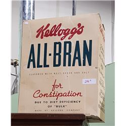 VINTAGE KELLOGS ALL BRAN CEREAL BOX STORE DISPLAY