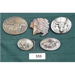 5 COLLECTIBLE PEWTER & COPPER BELT BUCKLES