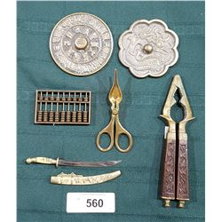6 VINTAGE ASIAN BRASS COLLECTIBLES