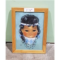 VINTAGE ORIGINAL NATIVE CHILD CHALK PICTURE