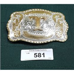 LARGE FANCY BELT BUCKLE W/LETTER T