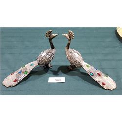 PAIR JEWELLED METAL PEACOCKS
