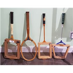 4 VINTAGE TENNIS RACKETS & BADMINTON RACKETS IN FRAMES