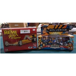 NIB SUPERHERO SQUAD & SEALED HEMISPHERE DRAGSTER MODEL KIT
