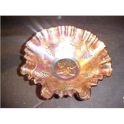 Carnival Glass Bowl Grape Leaf  TWE