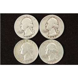 1942,44,54-D & 57-D WASHINGTON SILVER QUARTERS
