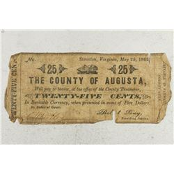 1862 COUNTY OF AUGUSTA, STAUNTON, VIRGINIA 25 CENT