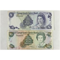 CAYMAN ISLANDS 1974 $1 AND 1991-$5