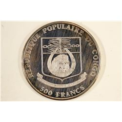 1992 CONGO SILVER 500 FRANCS PROOF WORLD CUP