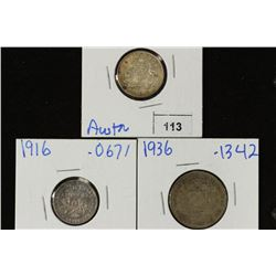 3 FOREIGN SILVER COINS 1943-D AUSTRALIA 6 PENCE