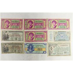 9 ASSORTED WWII US MILITARY PAYMENT CERTIFICATES