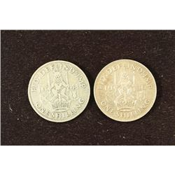 GREAT BRITAIN 1941 & 1946 SILVER SHILLINGS