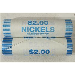 2-$2 ROLLS OF 2004-D PEACE MEDAL NICKELS BRILLIANT