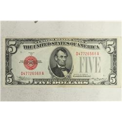 1928-B $5 RED SEAL US NOTE SIGNED BY JULIAN-