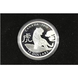 2010 CANADA $15 FINE SILVER COIN YEAR OF THE TIGER